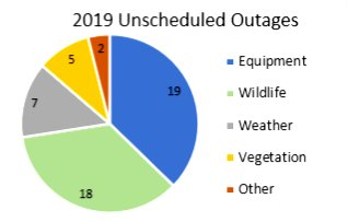 Pie chart of 2019 power outages